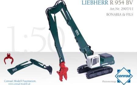R954 BV mit Pulverisierer, Sortiergreifer und Tieflöffel