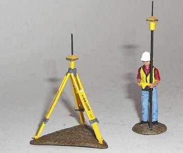 Bauarbeiter mit Topcon Laserausrüstung