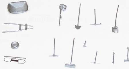 Baustellen Set besteht aus Schubkarre (4teilig), Schrotgabel. Schüppe, Besen, Preslufthammer, Hammer, Schraubenschlüssel, Sp...
