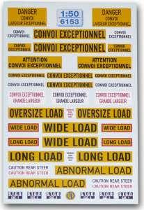 Warntafeln für Schwertransport -Fahrzeuge -England · Frankreich-
