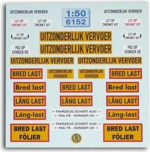 Warntafeln für Schwertransport -Fahrzeuge -Niederland · Dänemark-