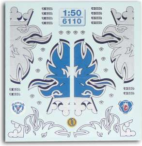 Scania-FH Dekore Der Decalbogen enthält -Greif in Silber-Greif, Silber Outline-Greif, Blau/Silber, R 620-V8, 580, Scania Emb...