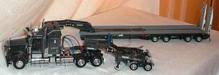 T908 3achs Zugmschine mit 2achs Dolly und 5achs verbreiterbarem -Drake- in grau T09007B