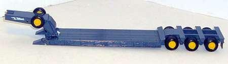 Tieflader mit Schanenhals in grau mit gelben Felgen 3achs