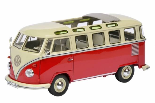 vw bus 1:32 - t1 samba bus, rot-weiß dickie-schuco 450899000