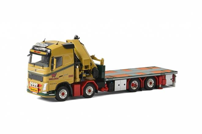 Volvo FH4 Globetrotter Riged Flatbed Truck + Palfinger 15000.2 + Jib