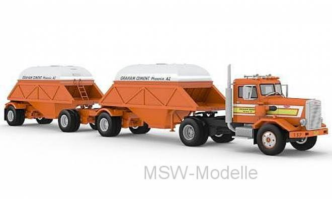 281 SBFA, orange, with Bottom Dump Trailer, 1971