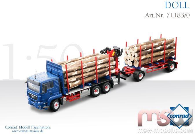 1:50: MAN TGS L 3achs Zugmaschine mit 2achs Hänger mit Holzladekran ...