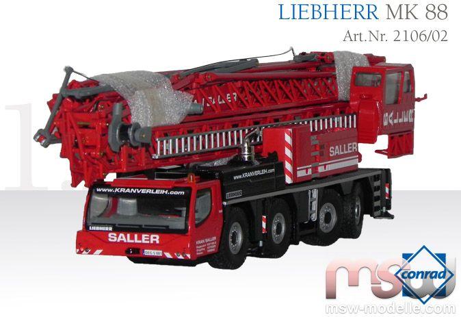 model conrad liebherr mobilbaukran mk 88 truck crane 4 axle 1 50. Black Bedroom Furniture Sets. Home Design Ideas