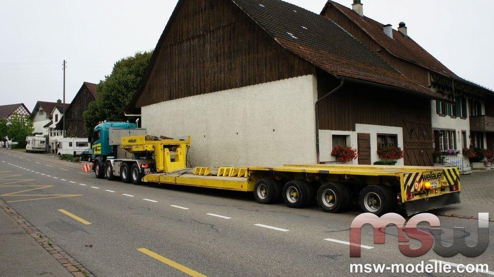 1:50: Scania R-serie Lowline mit HIAB kran und 4 achse semi- Flat ...