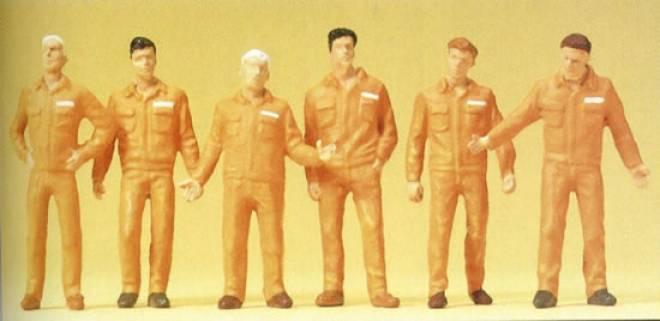 6 stehend Monteure orange Arbeitskleidung