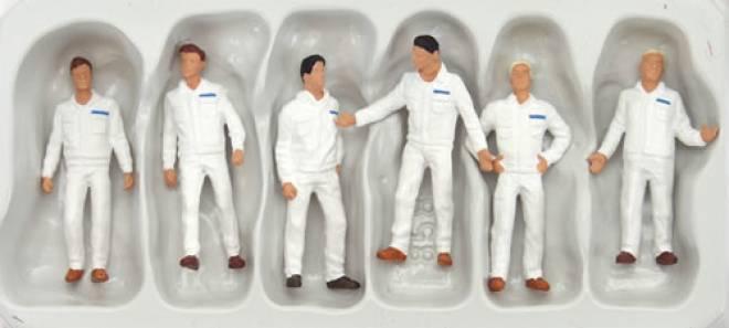 6 stehend Monteure weiße Arbeitskleidung