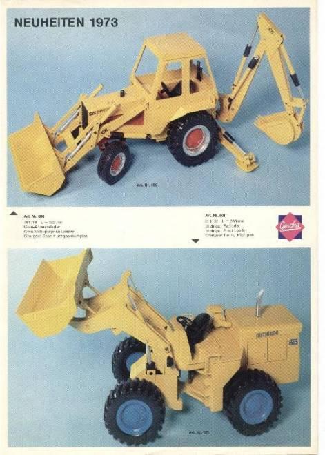 Gescha Neuheiten 1973, DIN A4, 4-seitig, 10 Abb.   (z. B. Priestmann Löffelbagger, Merc.-Containerzug usw.) (Farb Kopie)