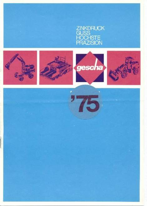 Gescha Farbkatalog 1975, DIN A4, 12-seitig, 29 Abb. (z. B. Poclain SC150, CAT D9G, Peiner Cont. Stapler usw.) (Farb Kopie)