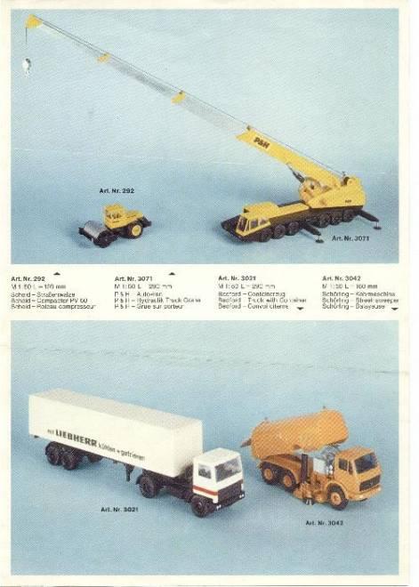 Gescha Messeneuheiten 1976, DIN A4, 2-seitig, 7 Abb.   (z.B. Poclain, Liebherr, P & H usw.) (Farb Kopie)