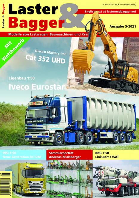 Lastwagen, Baumaschinen und Krane im Modell