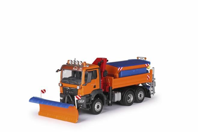 TGS NN Winterdienst 3-achs mit Streuaufbau, Schneeschild und Ladekran