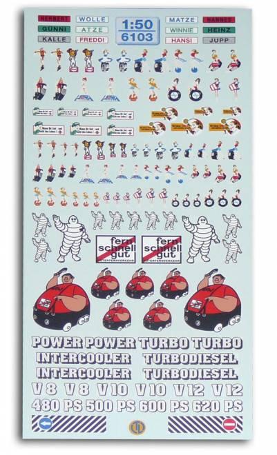 Lkw-Dekorbogen Der Decalbogen beinhaltet u.a. -Pin Up Girls-Brummis-Michelin-Männchen