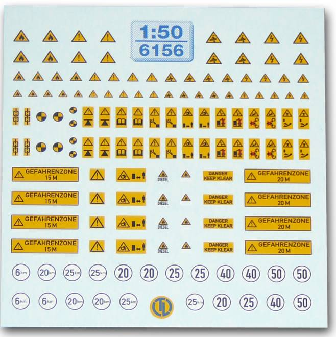 Warntafeln für Baumaschinen Der Decalbogen beinhaltet -verschiedene Warntafeln-6, 20, 25, 40 und 50 km Schilder