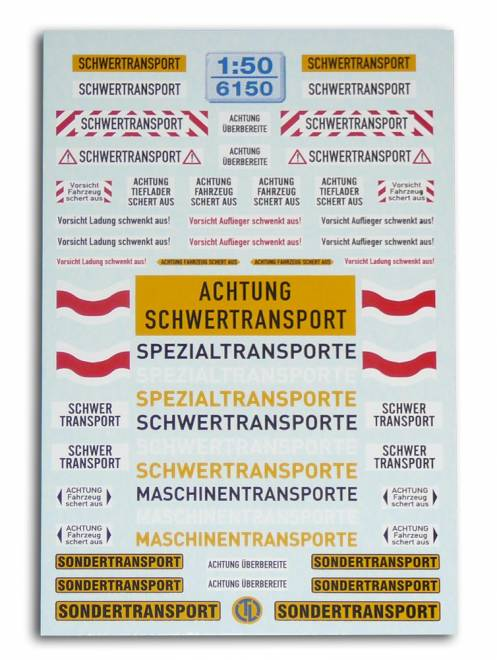 Warntafeln für Schwertransport -Fahrzeuge-Deutschland · Österreich · Schweiz-