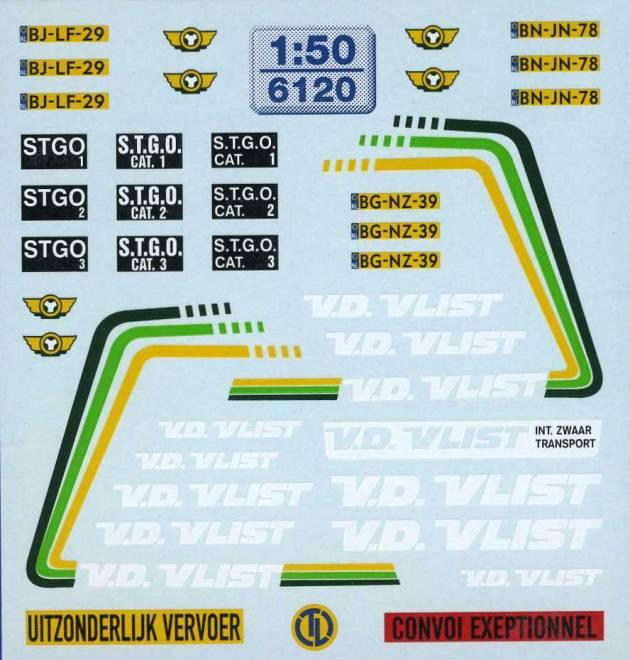 V.D. Vlist Beschriftungen Der Decalbogen enthält u.a. -Dekor für eine Scania-Kfz-Kennzeichen