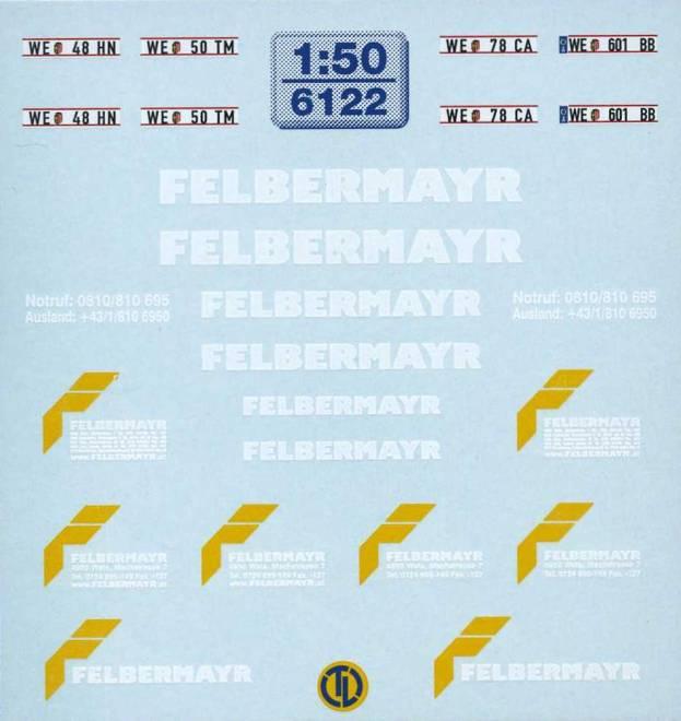 Felbermayr Beschriftungen Der Decalbogen enthält u.a.-Türbeschriftungen-Kfz-Kennzeichen-Felbermayr Schriftzüge in verschiede...