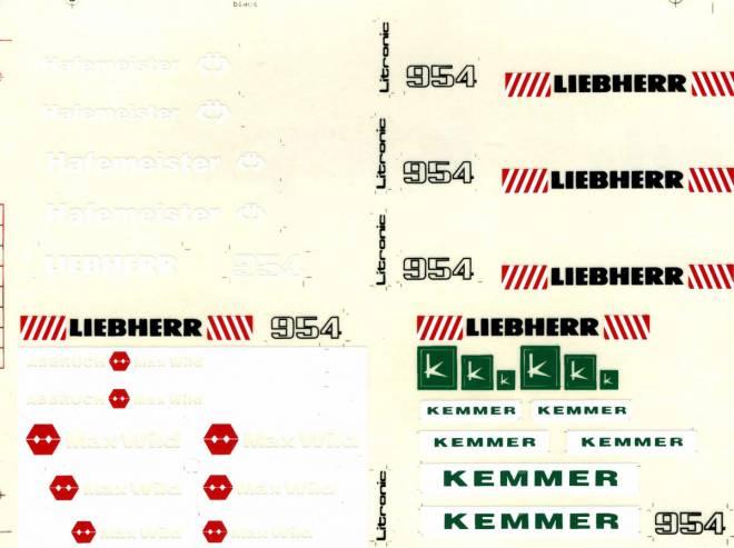 Aufkleber Liebherr 954 Litronic Hafemeister, Max Wild, Kemmer 38 Stück