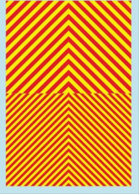 Streifen (90 x140 mm) gelb Tagesleuchtfarbe / rot