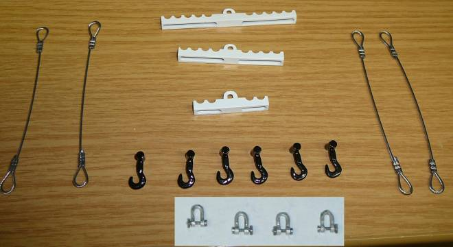 Set klein (6 Haken, 4 Schäkel und 4 Seile)