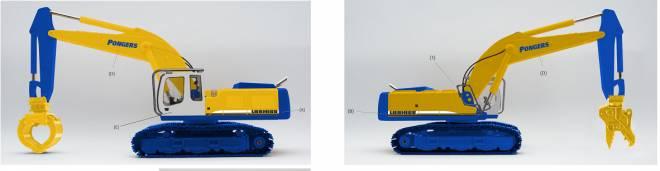 R 954 C  Schnellwechsler, Pulverisierer und Sortiergreifer