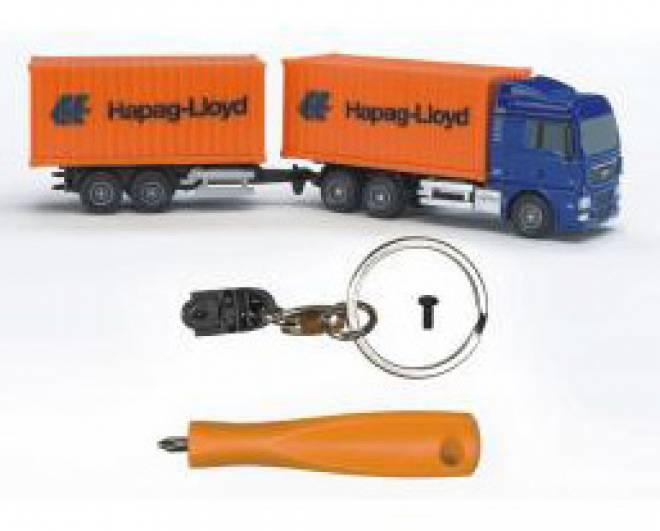 Hapag Loyd Contanhänger mit Schlüsselkette und Schraubendreher