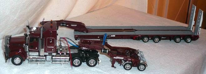 T908 3achs Zugmschine mit 2achs Dolly und 5achs verbreiterbarem -Drake- in burgubdy T09005B