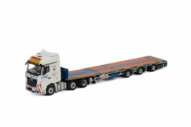 BENZ ACTROS MP4 STREAM SPACE 6X2 TWIN STEER MEGATRAILER FLATBED - 3achs