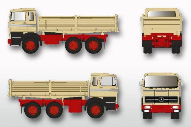 LPK 2224Meiller    rotes Chassis mit schwarzer Stoßstange