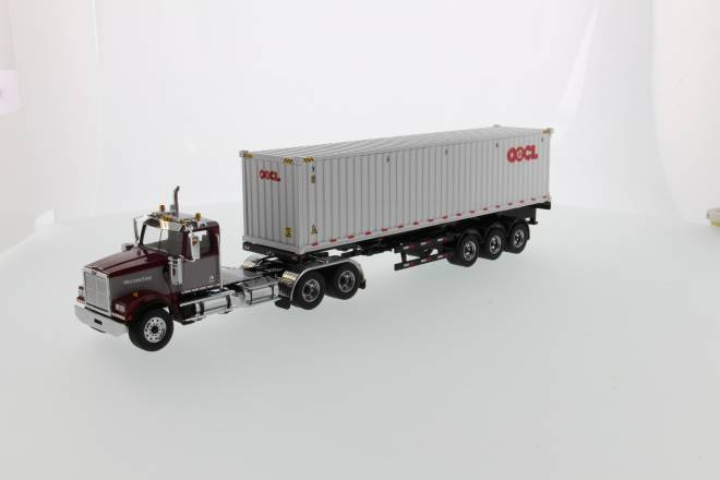 4900 SF Day Cab Tandem Tractor maroon&grey w/ 40' OOCL Container