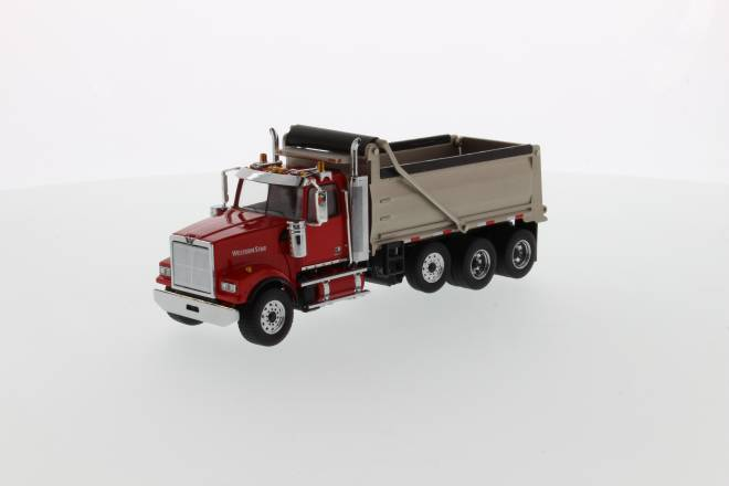 4900 SF Dump Truck - Red cab, matte silver plated dump body