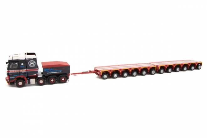 Benz Arocs 8x4 Ballastbox - drawbar with Scheurle Intercombi 2x6 achs