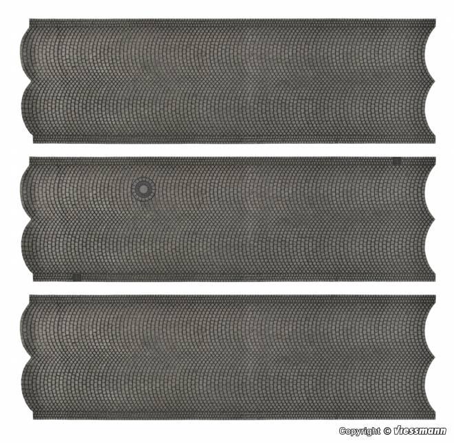 Straßenplatte Kopfsteinpflaster aus Steinkunst, 3 Stück, L 54 x B 16,3 cm